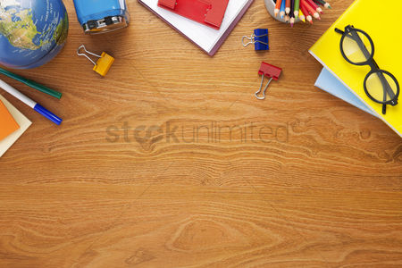 School : School supplies on desk background with copy space