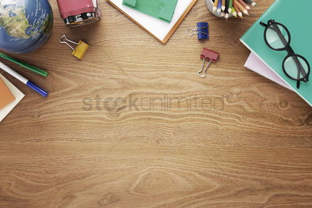 Business : School supplies on desk background with copy space
