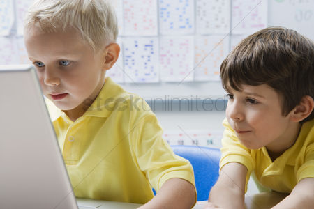 School children : Schoolboys using a laptop