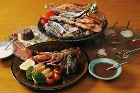 Ready to eat : Seafood platter  lobster and chocolate cake