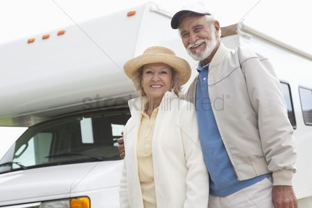 On the road : Senior couple and rv home