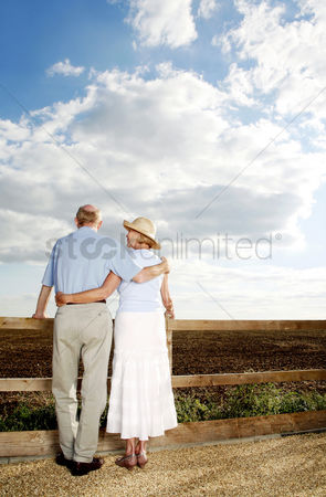 Aging process : Senior couple enjoying the scenic view