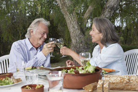 Trees : Senior couple toasting at table in garden