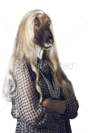 Proud : Senior woman with dog s head and long hair