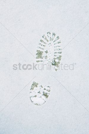 China : Shoe print in the snow