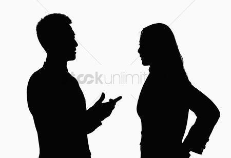 Advice : Silhouette of businessman and businesswoman talking