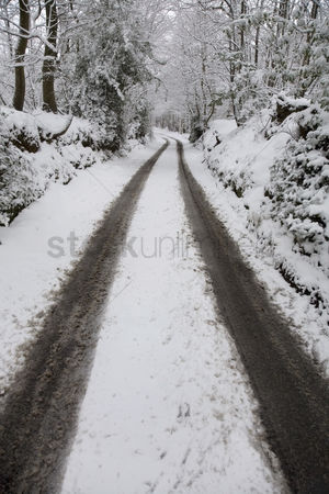 England : Snow covered dirt road in countryside  kent england