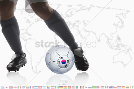 Korea republic : Soccer player dribble a soccer ball with korea republic flag