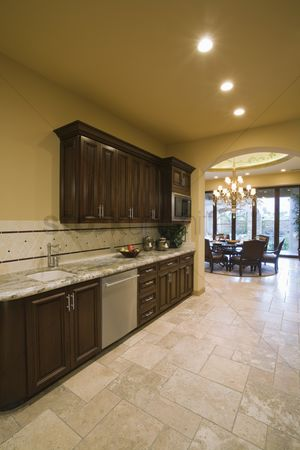 Spacious : Spacious kitchen with dark wood fitted units