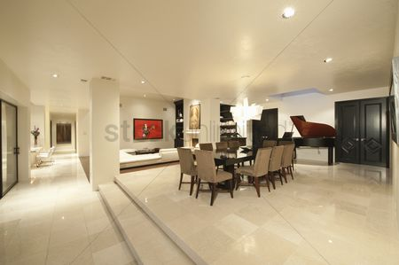 Spacious : Spacious white living interior with grand piano