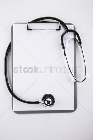 No people : Stethoscope and clipboard