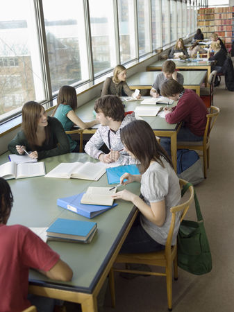 College : Students in reading room
