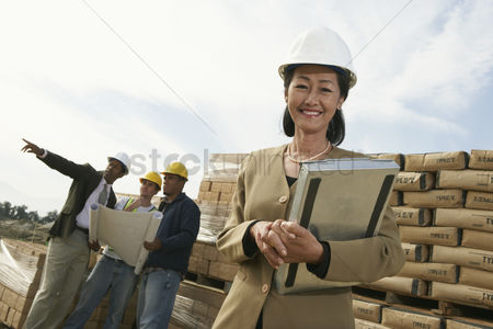 Land : Surveyors on construction site