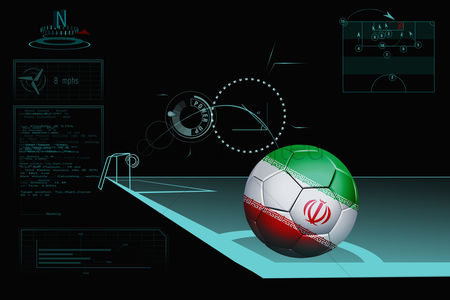 Iran : Taking a corner infographic with iran soccer ball