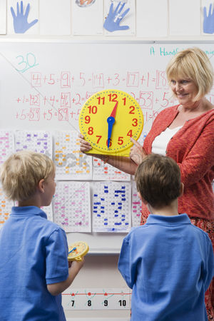 Instruction : Teacher teaching kids to tell time