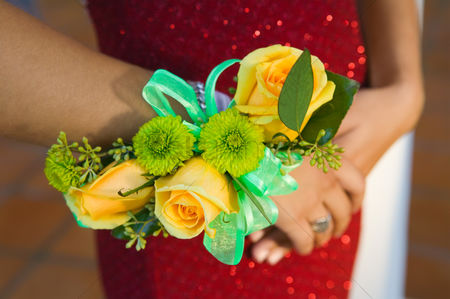 Dance : Teenage girl wearing corsage close-up of flowers