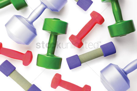 Dumbbell : Top view of dumbbells on white background with copy space