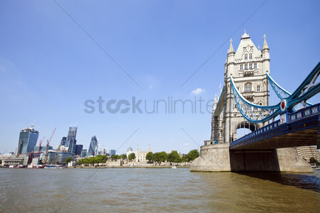 England : Tower bridge in london with city of london in the background
