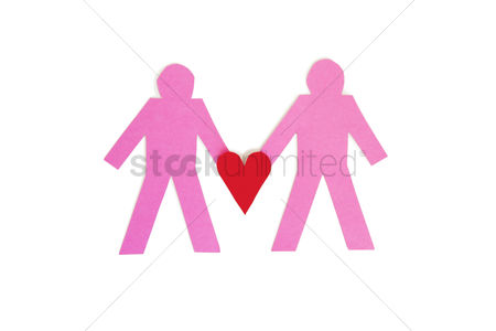 Arts : Two paper stick figures holding a red heart over white background