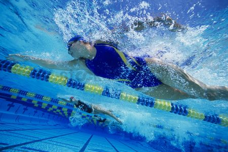 Swimmer : Underwater view female swimmers racing