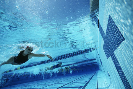 Swimmer : Underwater view of swimmers in pool