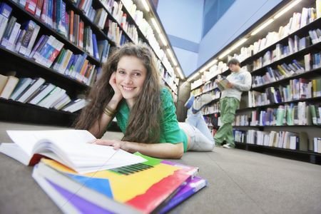 Interior background : University student studying in library
