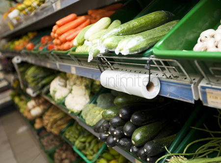 Supermarket : Variety of vegetables on shelves in grocery store