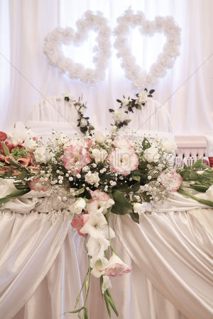 Interior background : Wedding decoration with fresh flowers