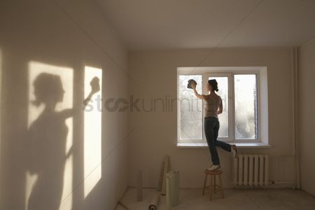 Wallpaper : Woman cleaning windows in new apartment
