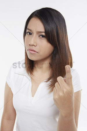 Frowning : Woman giving warning