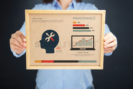 Fix : Woman holding board with maintenance concept and infographics