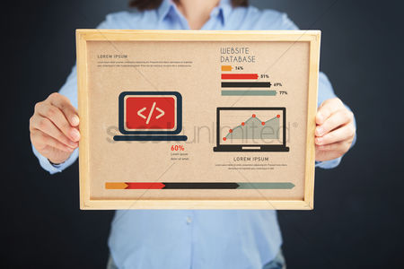 Show : Woman holding board with website database concept and infographics