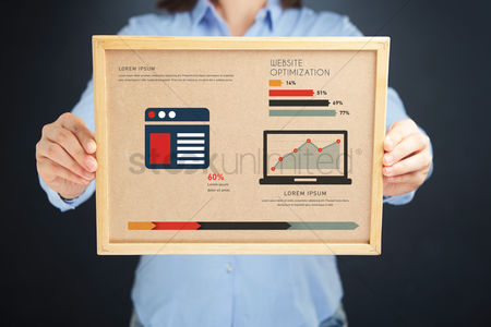 Show : Woman holding board with website optimization concept and infographics