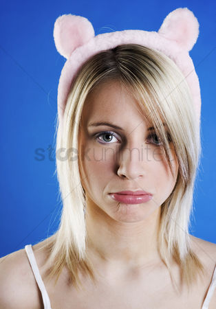 Sullen : Woman in cute bear hair band sulking