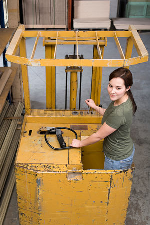 Forklift : Woman on forklift truck