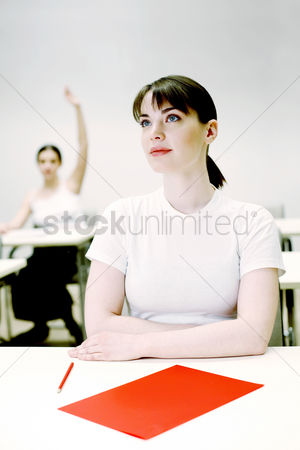 College : Woman paying attention in class