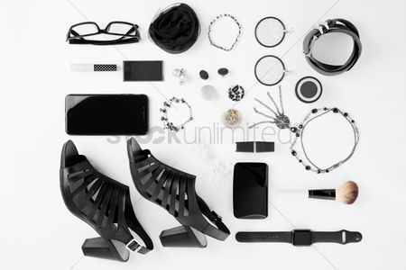 Flat : Woman s outfit and accessories on white background