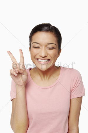 Malaysian indian : Woman showing  peace  sign