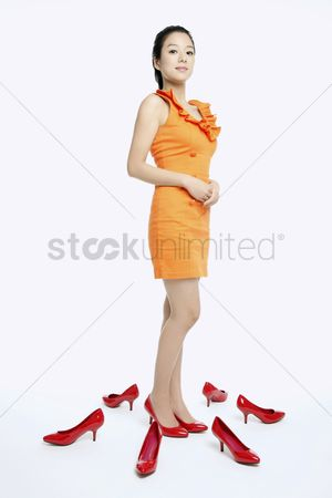 Shopping background : Woman with shoes on the floor
