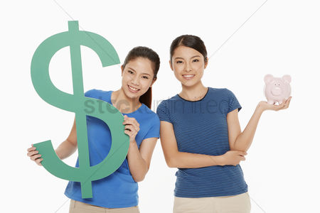 Malaysian chinese : Women holding up a dollar sign and a piggy bank