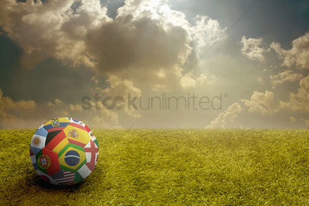 Sports : World flags soccer ball on a playing field