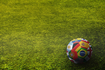 Pitch : World flags soccer ball on a playing field