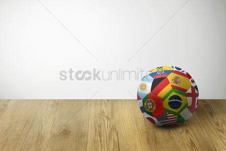 Hexagon : World flags soccer ball on parquet floor