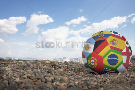 South korea : World flags soccer ball on the ground