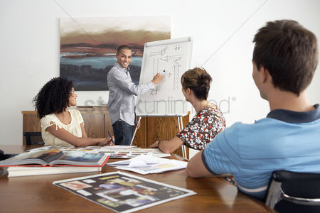 Leadership : Young businesspeople watching colleague giving presentation in conference room
